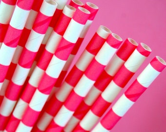 Hot Pink Rugby Horizontal Striped Paper Straws and PDF Printable Party Flags