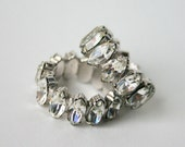 Vintage Clip-On Earrings with Sparkling Faux Diamonds