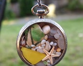 Sea Glass Pocket Watch Pendant Antique White Gold Plated Summer Breeze
