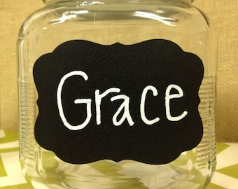 12 Chalk Labels® Grace Style Chalkboard Labels, Chalkboard Stickers, Mason Jar Labels