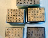 Five Sets of Alphabet Rubber Stamps, Free Shipping in USA, Scrapbooking, Notecards, Rubber Stamp Letters, Scrapbooking Stamps