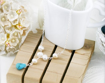 Sounds of the beach necklace - freshwater pearl and turqurenite