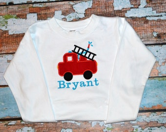Boys Firetruck Shirt, Firetruck Birthday Shirt, Fireman Shirt, Boys Birthday Shirt
