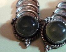 925 Sterling 1960s Vintage Spinach Jade Green  Drop Pierced Earrings Genuine Jade  On SaLe Now