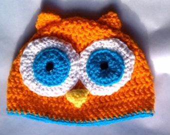 Owl Beanie Hat, Crochet