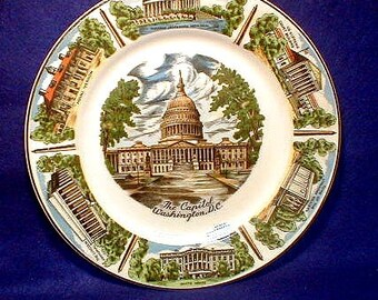 Vintage Souvenir Plate of  Washington DC