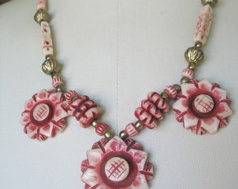Carved Flower Necklace Burgundy Cream Brass Vintage 1980s