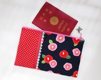 SALE - Camellia Japonica & Polka Dot with Lace Zipper Pouch/ Cosmetic Pouch