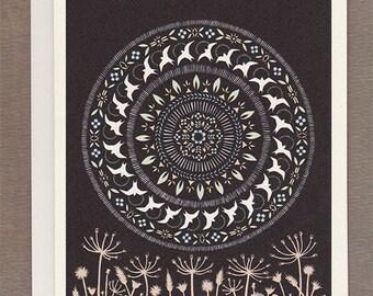 Moon of the Circling Swallows - Greeting Card