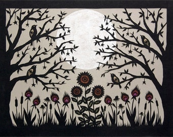 Full Flower Moon - 11 x 14 inch Cut Paper Art Print
