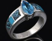 Turquoise and Spiderweb Turquoise Engagement or Wedding Ring with Blue Topaz