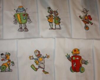 Fun Robots Machine Embroidered Quilt Blocks Set