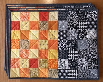 Black & White and Orange Quilted Placemats Set of 4