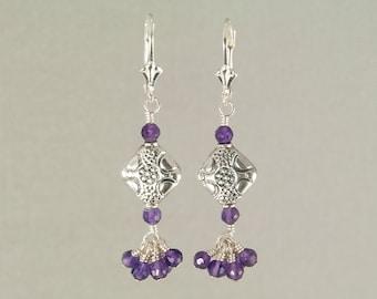 Amethyst dangle earrings in sterling silver, amethyst beaded earrings, February birthstone, purple earrings, hand made jewelry