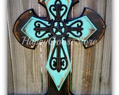Wall Cross - Wood Cross- Medium - Antiqued Black and Turquoise, black star iron cross
