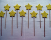 Birthday party favor - Yellow plantable paper stars on a wand - Magic wand for fairy princess or magic theme party