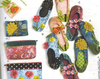 Pattern to make Slippers, Jewelry Pouch, Zippered Bags