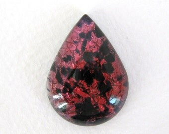 Vintage Glass Cabochon Pink Black Opal Pear Fire Harlequin Foil Teardrop 30x22mm gcb0843 (1)