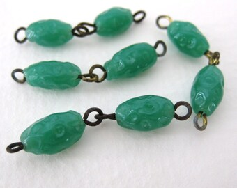 Vintage Glass Japanese Bead Drops Jade Green Connectors Baroque Wire Loops 10mm vgb0569 (10)