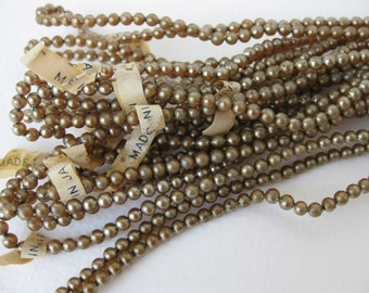 Vintage Japanese Bead Glass Pearls Dark Ivory Round Strand 3mm vgp0528 (1 strand, 240 beads)