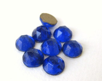 Vintage Cabochons Glass Sapphire Blue Faceted Rauten Roses Round 9mm gcb0849 (8)