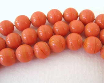 Vintage Japanese Beads Cherry Brand Pumpkin Orange Coral Glass Rounds 8mm vgb0713 (10)