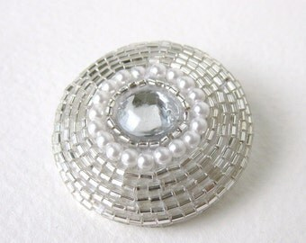 Vintage Rhinestone Button Glass Seed Beads Silver Crystal Bridal Sewing Shank 35mm but0179 (1)