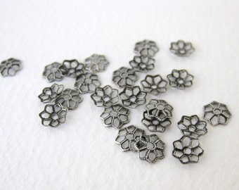 Antiqued Silver Ox Tiny Flower Filigree Bead Cap Plated Brass Vintage Style 7mm bcp0025 (18)
