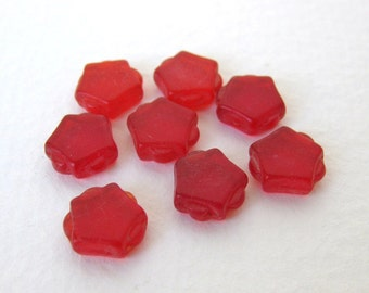 Vintage Glass Cabochon Ruby Red Pentagon Tile 9mm gcb0764 (8)