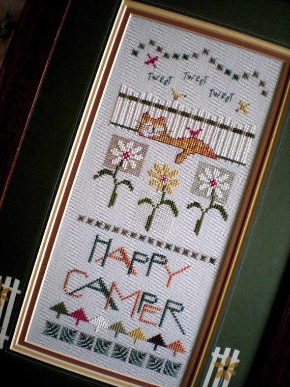 Framed Cross Stitch Completed Finished Band Sampler By