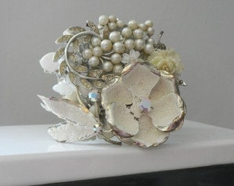 Snow Queen . Chunky White Cuff Bracelet , Vintage Collage Silver Wrist Corsage ,Bridal