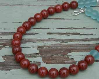 Oxblood Aqua Beach Glass Beaded Necklace Asymmetric Focal Bead Red Aquamarine beachglass Cordovan Rust