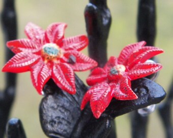 Red vintage Chrysanthemum screwback clip earrings - perfect for the holidays