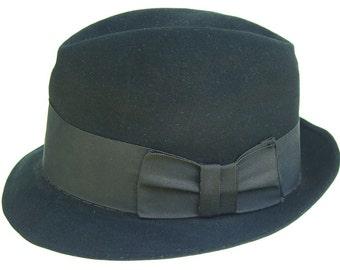 """23"""" - Vintage Chalfont New York  Black Fur Felt Men's Fedora Hat"""