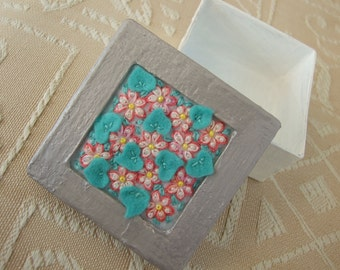 Box Decorated with Beaded Flowers and Felt  Leaves
