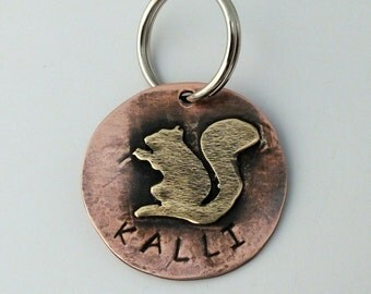 Kalli Mixed Metal Pet ID Tag, Custom Squirrel Pet Tag