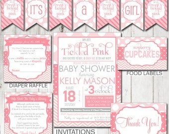 Digital Printable Tickled Pink Baby Shower Party Kit - Shower Games and Decorations PP101