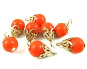 6 - Vintage Glass Bead Drops with Filigree Bead Caps - Red - 8x14mm