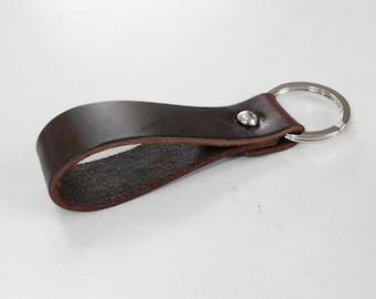 Dark Brown Leather Key Fob Key Chain Key Ring Key Holder