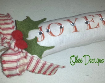 SALE Orig 15.00 French Cream Linen JOYEUX NOEL Sachet Crystal Embellished, Red Cream Ticking Bow and Felt Holly Leaves Twine Loop Hanger