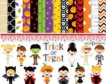 Halloween clipart and digital papers scrapbook pack Trick or Treat DK025  instant download  kids costumes