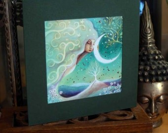 A single greeting card. Titled  'Earth and Moon'.   Illustrations by Amanda Clark.