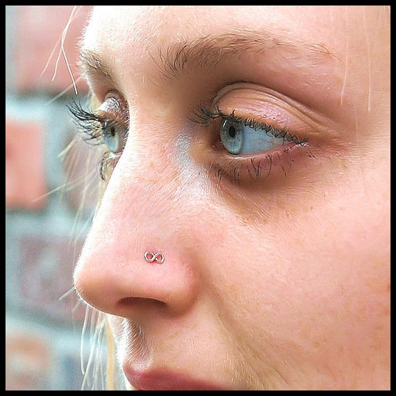 Infinity Nose Stud in Tarnish Resistant Argentium Sterling Silver - CUSTOMIZE