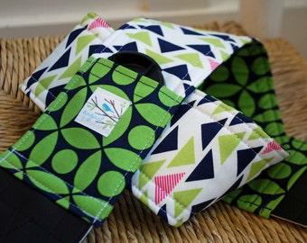 Camera Strap Navy and Green Tribal, Reversible, Built in Lens Cap Pocket