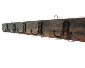 Bathroom Towel Rack - Coat rack - Reclaimed Wood Look - Rustic Decor - Industrial