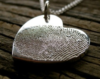 Custom Designed Heart Shaped Double Finger Print Engraved Pendant in Sterling Silver with Link Chain
