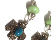 PAWN SHOP GIRL Dangle Earrings with Native American Faux Turquoise Eagle Charms