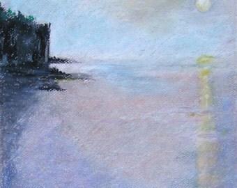 Moonrise on Lake Superior pastel drawing