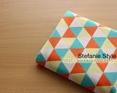 Home Decor, Nordic Geometry Geometric Blue Light Yellow Orange Triangle Pattern Patchwork-Linen Cotton Blended (1/2 Yard)