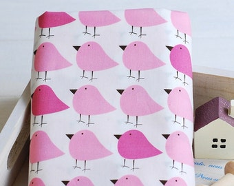 Birds Collection, Lovely Small Pink Bird Birds Collection-Cotton Fabric (Fat Quarter)
